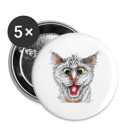 Lustige Katze - T-shirt - Happy Cat - Buttons groß 56 mm