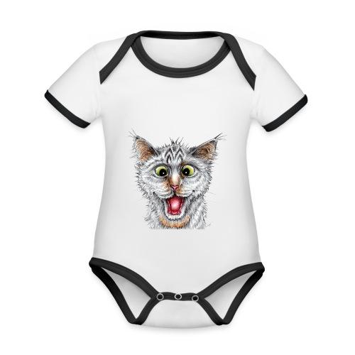 Lustige Katze - T-shirt - Happy Cat - Baby Bio-Kurzarm-Kontrastbody