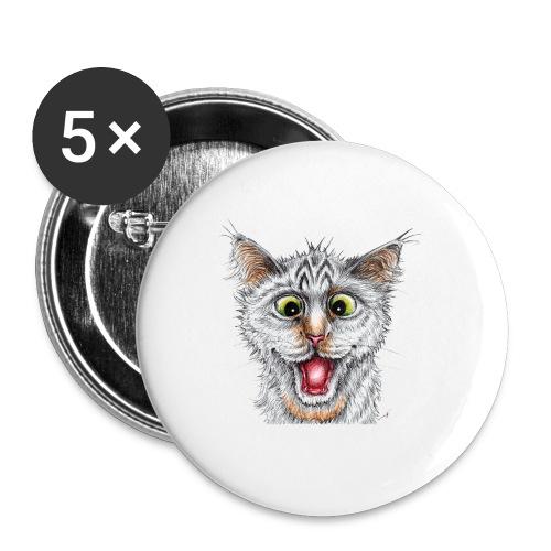 Lustige Katze - T-shirt - Happy Cat - Buttons mittel 32 mm