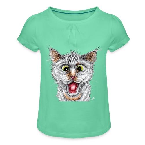 Lustige Katze - T-shirt - Happy Cat - Mädchen-T-Shirt mit Raffungen