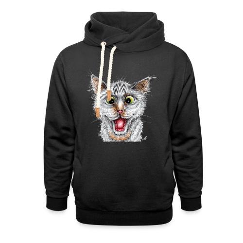 Lustige Katze - T-shirt - Happy Cat - Schalkragen Hoodie