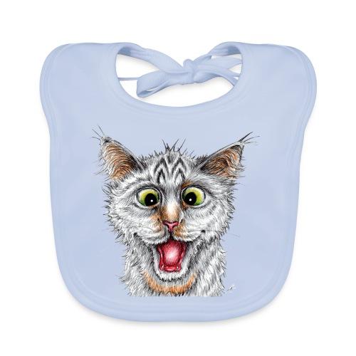 Lustige Katze - T-shirt - Happy Cat - Baby Bio-Lätzchen