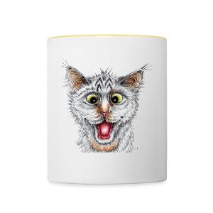 Lustige Katze - T-shirt - Happy Cat - Tasse zweifarbig