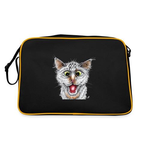 Lustige Katze - T-shirt - Happy Cat - Retro Tasche