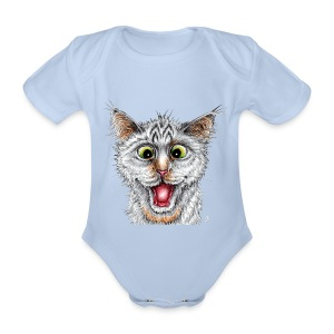 Lustige Katze - T-shirt - Happy Cat - Baby Bio-Kurzarm-Body