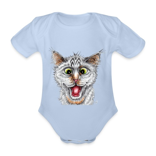 Lustige Katze - T-shirt - Happy Cat - Baby Bio-Kurzarm-Body