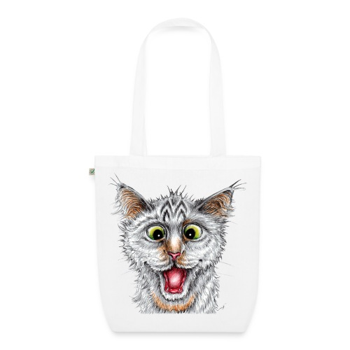 Lustige Katze - T-shirt - Happy Cat - Bio-Stoffbeutel