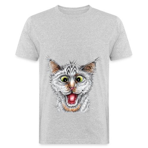 Lustige Katze - T-shirt - Happy Cat - Männer Bio-T-Shirt