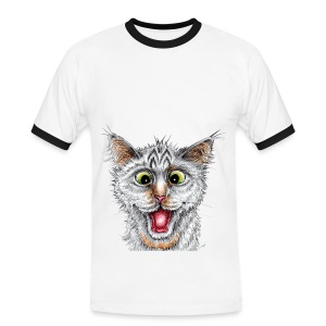 Lustige Katze - T-shirt - Happy Cat - Männer Kontrast-T-Shirt