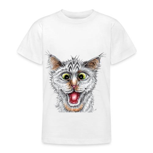 Lustige Katze - T-shirt - Happy Cat - Teenager T-Shirt