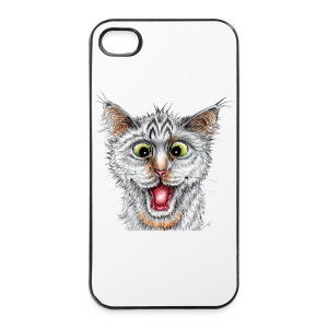 Lustige Katze - T-shirt - Happy Cat - iPhone 4/4s Hard Case