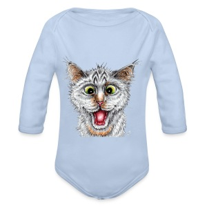 Lustige Katze - T-shirt - Happy Cat - Baby Bio-Langarm-Body