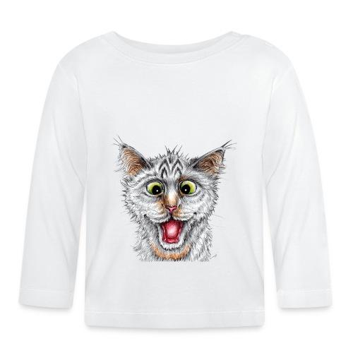 Lustige Katze - T-shirt - Happy Cat - Baby Langarmshirt