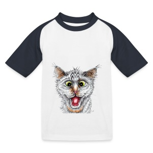 Lustige Katze - T-shirt - Happy Cat - Kinder Baseball T-Shirt