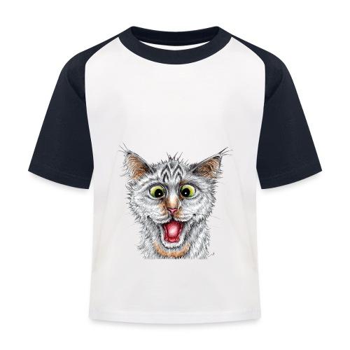 Lustige Katze - T-shirt - Happy Cat - Kinder Baseball T-Shirt