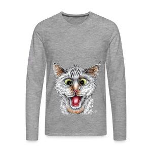 Lustige Katze - T-shirt - Happy Cat - Männer Premium Langarmshirt