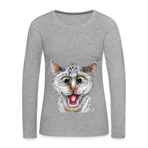 Lustige Katze - T-shirt - Happy Cat - Frauen Premium Langarmshirt