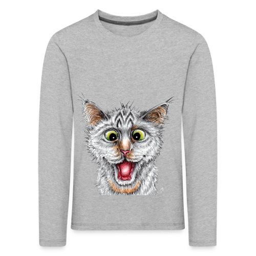 Lustige Katze - T-shirt - Happy Cat - Kinder Premium Langarmshirt