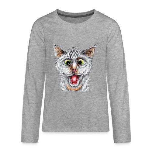 Lustige Katze - T-shirt - Happy Cat - Teenager Premium Langarmshirt