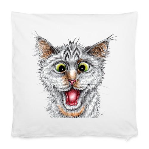 Lustige Katze - T-shirt - Happy Cat - Kissenbezug 40 x 40 cm