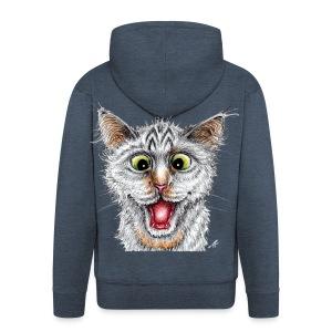 Lustige Katze - T-shirt - Happy Cat - Männer Premium Kapuzenjacke