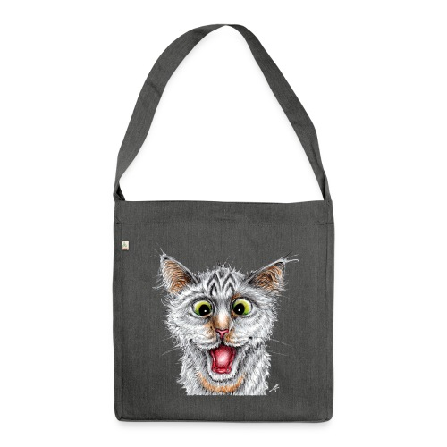 Lustige Katze - T-shirt - Happy Cat - Schultertasche aus Recycling-Material