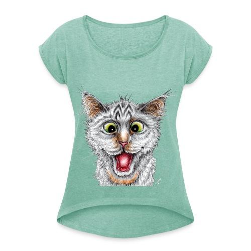 Lustige Katze - T-shirt - Happy Cat - Frauen T-Shirt mit gerollten Ärmeln