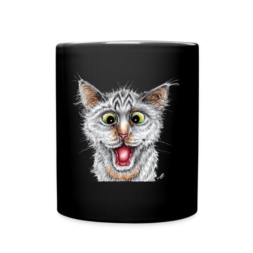 Lustige Katze - T-shirt - Happy Cat - Tasse einfarbig