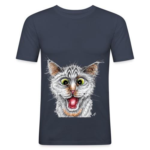 Lustige Katze - T-shirt - Happy Cat - Männer Slim Fit T-Shirt