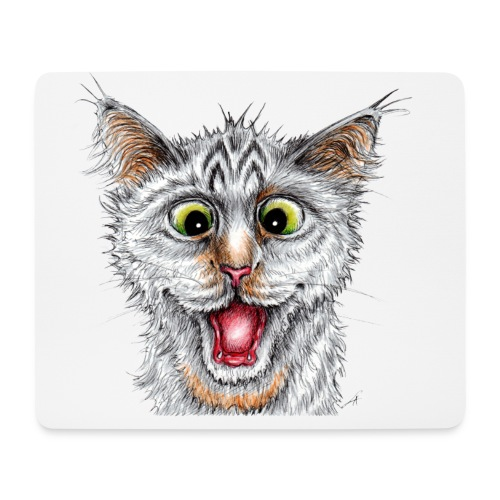 Lustige Katze - T-shirt - Happy Cat - Mousepad (Querformat)