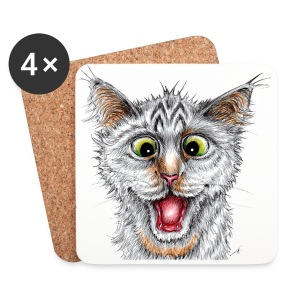 Lustige Katze - T-shirt - Happy Cat - Untersetzer (4er-Set)