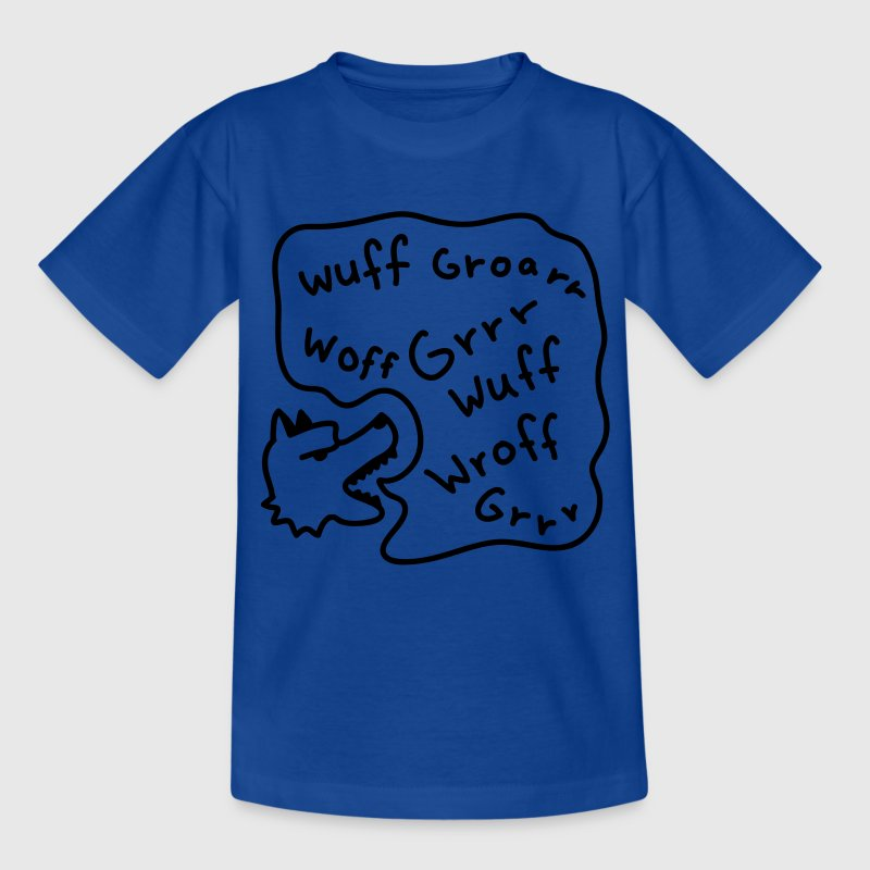 Royalblau Hund - Dog - Wuff - Line Kinder T-Shirts - Teenager T-Shirt
