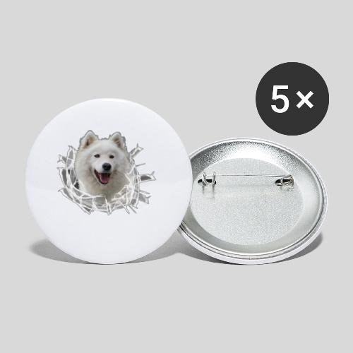Samojede im Glasloch - Buttons klein 25 mm (5er Pack)