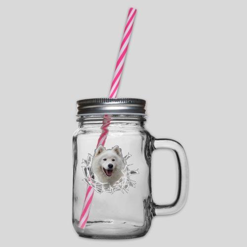 Samojede im Glasloch - Henkelglas mit Schraubdeckel