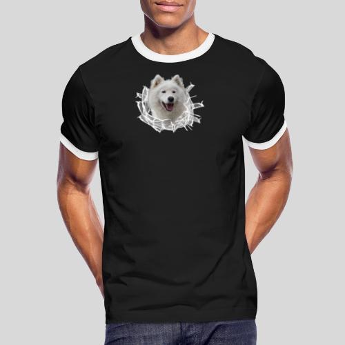 Samojede im Glasloch - Männer Kontrast-T-Shirt