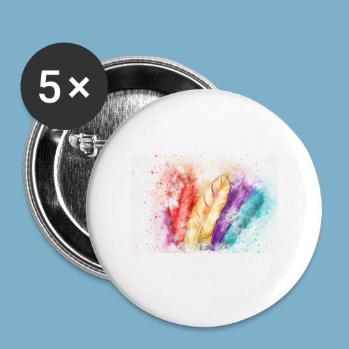 Feder Motiv - Buttons groß 56 mm