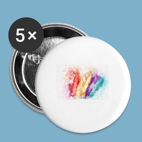 Feder Motiv - Buttons mittel 32 mm
