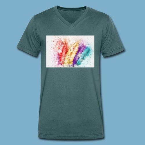 Feder Motiv - Männer Bio-T-Shirt mit V-Ausschnitt von Stanley & Stella