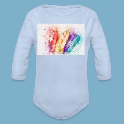 Feder Motiv - Baby Bio-Langarm-Body