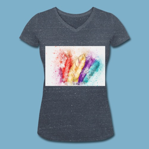 Feder Motiv - Frauen Bio-T-Shirt mit V-Ausschnitt von Stanley & Stella