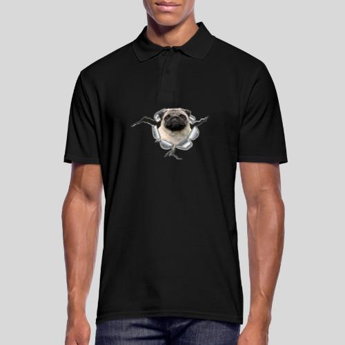 Mops im Metall-Loch - Männer Poloshirt