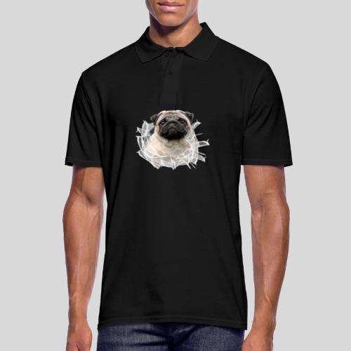 Mops im Glasloch - Männer Poloshirt