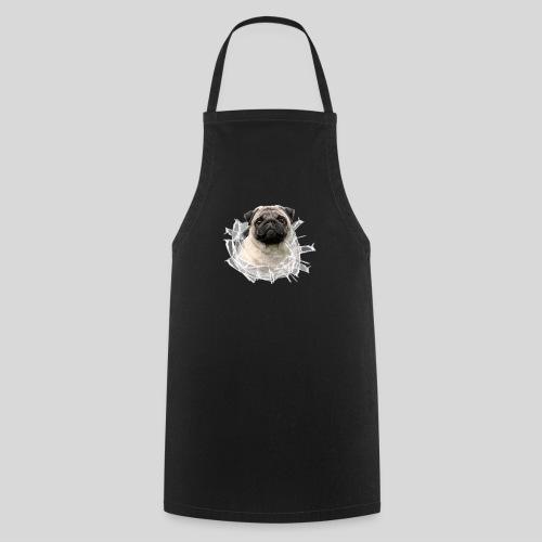Mops im Glasloch - Kochschürze