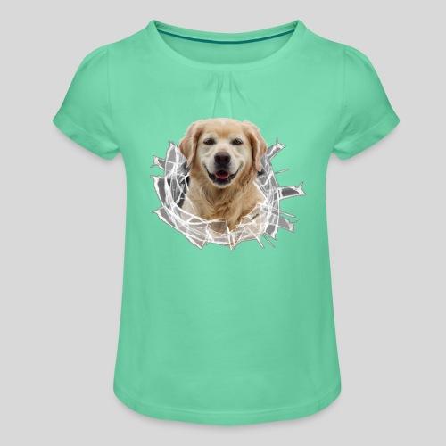 Golden im Glasloch - Mädchen-T-Shirt mit Raffungen
