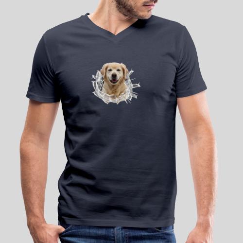 Golden im Glasloch - Männer Bio-T-Shirt mit V-Ausschnitt von Stanley & Stella