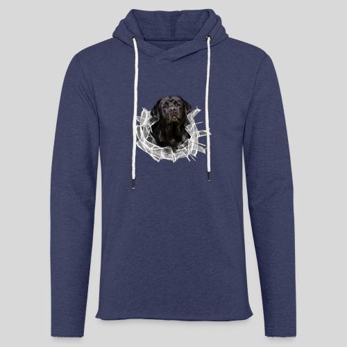 Labrador Schwarz im Glasloch - Leichtes Kapuzensweatshirt Unisex