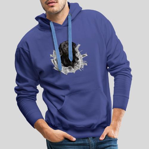 Labrador Schwarz im Glasloch - Männer Premium Hoodie