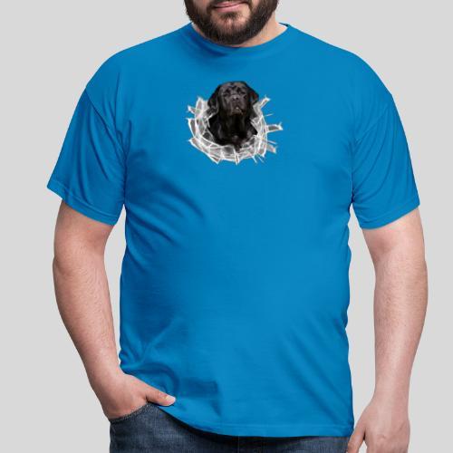 Labrador Schwarz im Glasloch - Männer T-Shirt