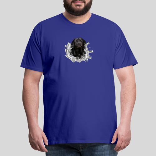 Labrador Schwarz im Glasloch - Männer Premium T-Shirt