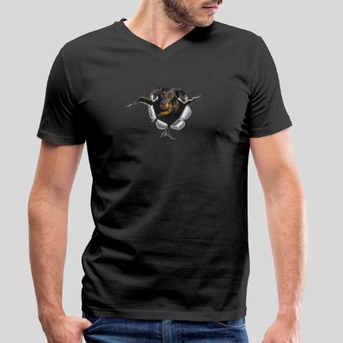 Beauceron im Metall-Loch - Männer Bio-T-Shirt mit V-Ausschnitt von Stanley & Stella